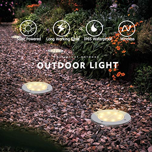 Biling Solar Disk Lights Outdoor, 8 LED Bulbs Solar Ground Lights Outdoor Waterproof for Garden Yard Patio Pathway Lawn Driveway - Warm White (12 Pack)