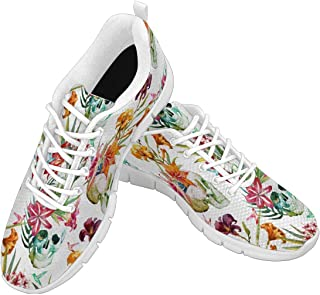 Zenzzle Women's Lightweight Breathable Athletic Walking Sneakers Tropical Flowers Pattern with Skulls Size US6-12