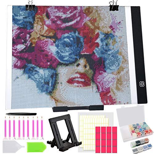 38 PCS B4 Ultra-Thin Portable Diamond Painting LED Light Pad Kit with USB Powered, Diamond Led Light Board Pad, B4 Diamond Painting Tools Kit, Apply to Full Drill & Partial Drill 5D Diamond Painting