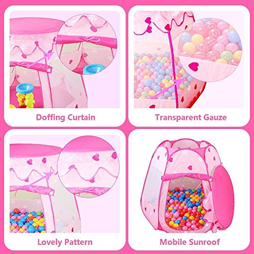 Le Papillon Pink Princess Tent Kids Ball Pit 1st Gift Toddler Girl Easy Pop Up Fold into a Carrying Case Play Tent Indoor