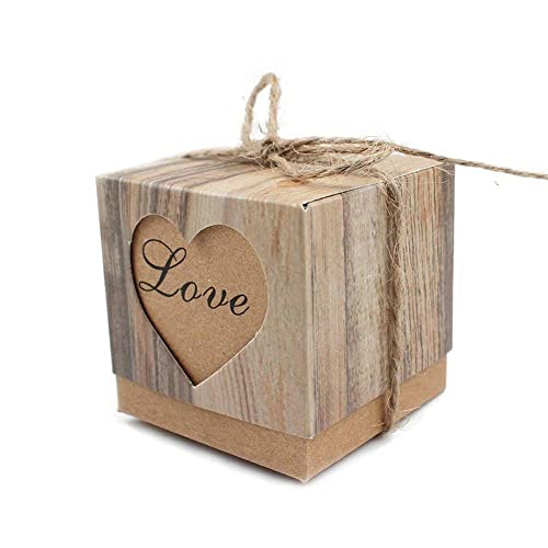 100Pcs DIY Heart Love Rustic Sweet Laser Cut Candy Gift Boxes Wedding Party Favour Box with Packing Ropes and Gifts Bag Party Supplies
