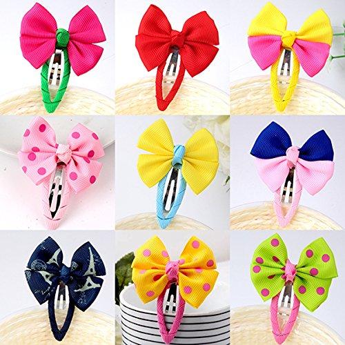 Frcolor 12pcs Bowtie Enfant cheveux Snap Bow-nœud Clips Hair Grip Clips Epingle à cheveux (couleur aléatoire)