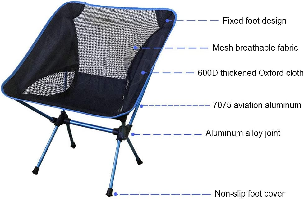 W-ShiG Ultralight Portable Folding Camping Backpack Chairs with Carry Bag Outdoor Collapsible Beach Chair Backpack Compact /& Heavy Duty for Fishing Camping Hiking BBQ Travel Picnic