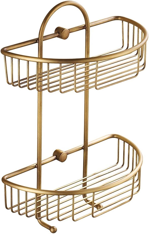 Shelf Bathroom Full Copper Tripod Hanging Basket Bathroom Shelf Corner Frame Double Basket Storage Rack (color   Brass, Size   24.5  13.5  38cm)