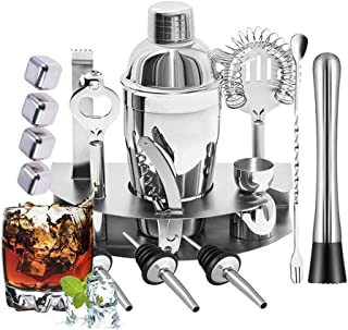 Beauenty 16 Pieces Bar Cocktail Shaker Stainless Steel. With Strainer, Spoon, Jigger, Pourers, Muddler, Corkscrew, Opener,...