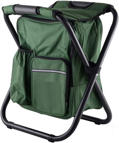 XHCM Tabouret Pliant extérieur avec Glace Pack et Isolant Sac portable arrière pêche Tabouret extérieur Chaise de Plage,Armyvert