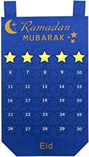 PartyTalk Felt Ramadan Calendar Eid Hanging Countdown Calendar with 30pcs Detachable Stars, Ramadan Advent Calendar, Blue