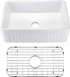 KLXHOME 30 Inch Farmhouse Kitchen Sink Apron-Front White Ceramic Porcelain Fireclay Deep Single Bowl Farm Kitchen Sinks, S...