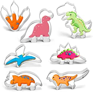 ZYTIN Dinosaur Cookie Cutters Set, 7 Piece Stainless Steel Cookie Cutters With T-Rex, Triceratops, Stegosaurus, Brontosaurus, Spinosaurus, Pterosauria, Footprint Shapes Molds for Kids Baking