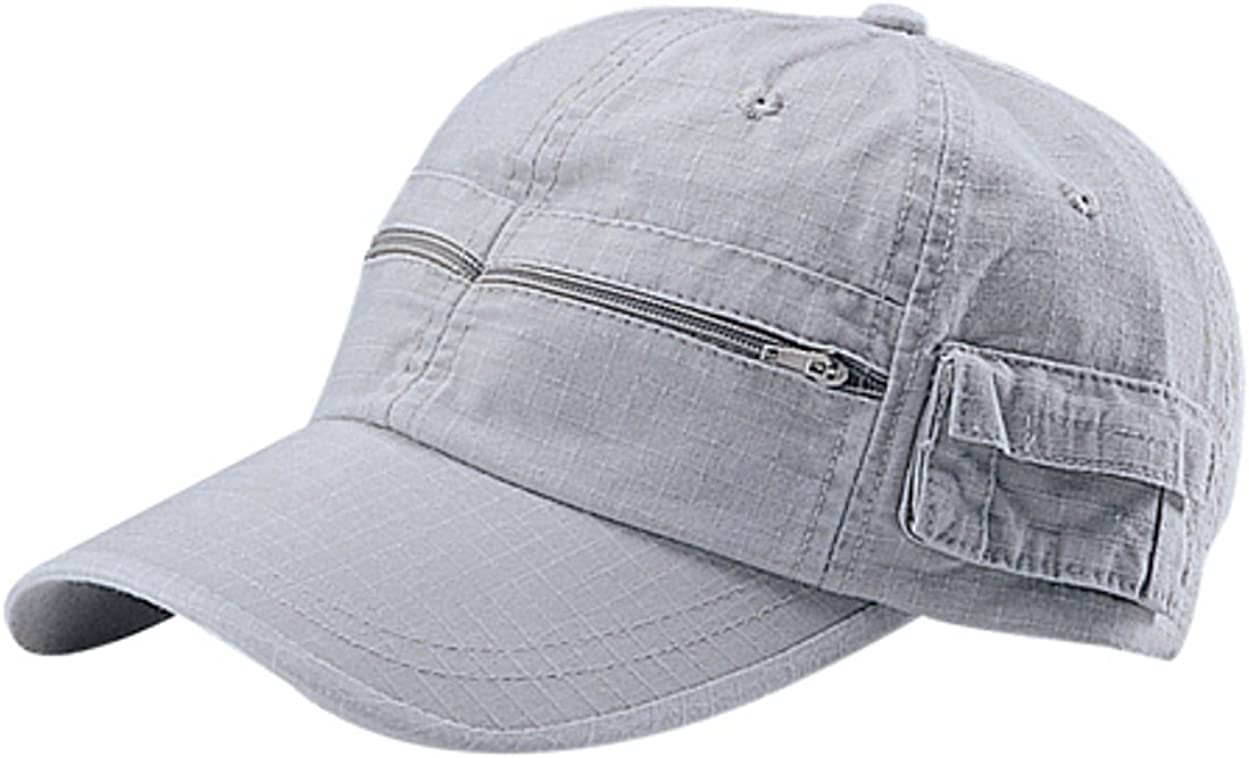 G Men's Rip Stop Fabric Washed Pocket Adjustable Cap with Zipper Pockets