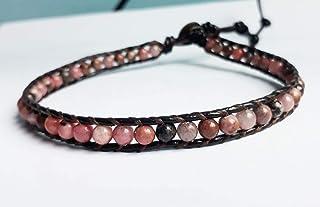 Rhodonite stone anklets leather anklets men anklets women anklets pink anklets gift anklets boy anklets girl anklets friendship