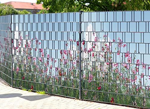PerfectHD Zaunsichtschutz (über 10 weitere Motive) für Doppelstabmattenzaun *Sommerblumen* Motivdruck, 9 Stück 19cm Streifen, Rückseite neutral grau