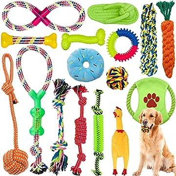 🐕 16 Set Interaktives Spielspielzeug: kauender Seilknoten,Seil Ball,fliegende Scheiben Spielzeug,Quietschspielzeug des populären schreienden Huhns,Diese bunten Seilspielzeuge können das Interesse des Hundes leicht wecken und Einsamkeit und Langeweile...