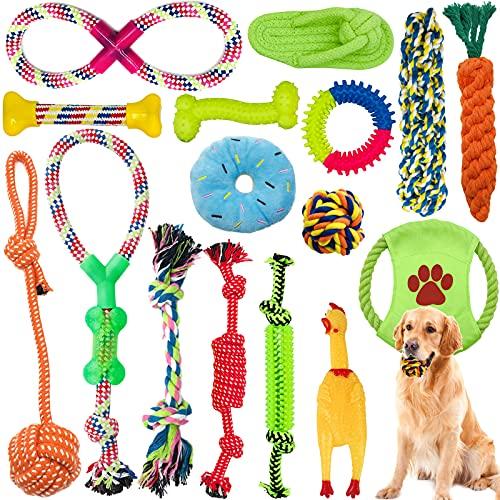Amzeeniu Juguetes para Perros,16piezas Juguete para Morder para Perro,Durable Masticable Cuerda,Cuerda Juguete Interactivo de algodón con Nudo para Masticar para Mantener a Perro Sano