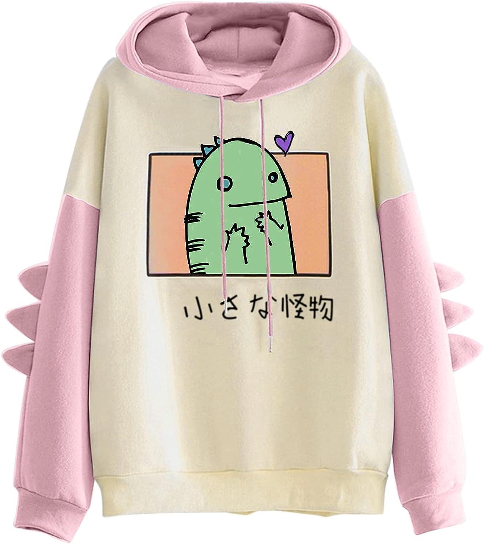 Dinosaur Sweatshirt for Women Long Sleeve Splicing Tops Cute Cartoon Hoodies Teens Girls Casual Pullover Tops