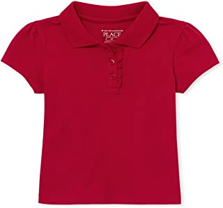 The Children's Place Baby Girls and Toddler Girls Short Sleeve Ruffle Pique Polo