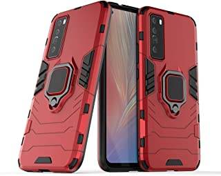 FanTing Case for Huawei nova 7, Rugged and shockproof,with mobile phone holder, Cover for Huawei nova 7-Red