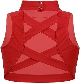 FEESHOW Big Girls Racerback Sports Bra Crop Tops for Gymnastics Yoga Ballet Dance wear Activewear