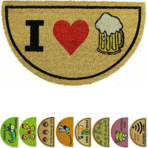 LucaHome - Felpudo de Coco Natural 70x40 con Base Antideslizante, Felpudo de Coco Divertido I Love Beer, Felpudo Absorbente Entrada casa, Ideal para Puerta Exterior o Pasillo