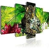 murando - Cuadro en Lienzo 200x100 cm Animal Impresión de 5 Piezas Material Tejido no Tejido Impresión Artística Imagen Gráfica Decoracion de Pared Jaguar Naturaleza g-C-0042-b-m