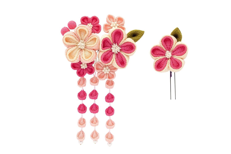 (ソウビエン) 髪飾り つまみ細工 2点セット ピンク 梅 花 コサージュ 縮緬 ぶら飾り コーム Uピン 日本製