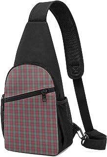 PGTry Fraser - Bolso bandolera de tartán rojo desgastado, ligero, mochila para el pecho, bolsa cruzada, para viajes, sende...
