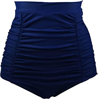 5ba3af1a59afd COCOSHIP Women's Retro High Waisted Bikini Bottom Ruched Swim Short Tankinis (FBA)