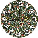 Mailine Reloj de Pared Woodland Gnomes Reloj de Pared Decorativo Silencioso Sin tictac - Redondo Fácil de Leer Reloj Decorativo