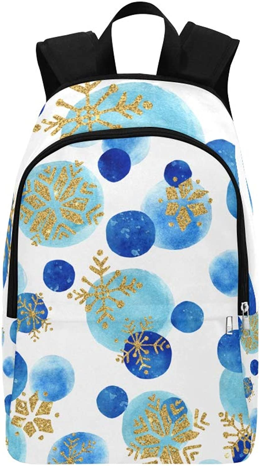 Hand Drawn Stylized Snowflakes in Winter Casual Daypack Travel Bag College School Backpack for Mens and Women