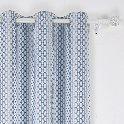 Deconovo Thermal Insulated Window Panel Drapes Fashion Design Print Blackout Curtain with Grommet Top for Bedroom 42x84 Inch Azure Blue One Panel