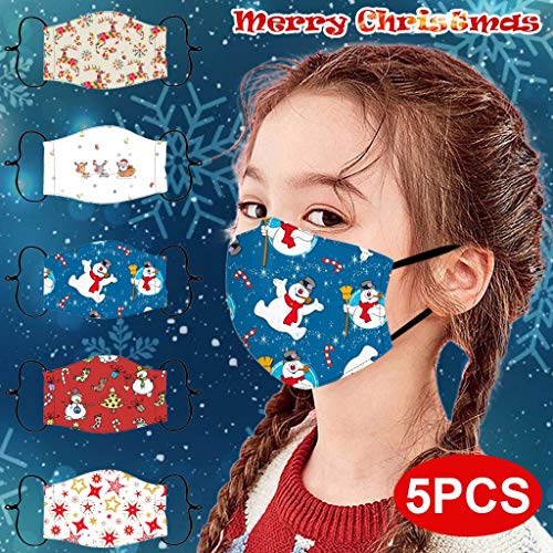 TriLance Schiffe aus Deutschland, 5PCs Wiederverwendbare Weihnachts Schutztuch für Kinder, Staubdicht und Tropfenfrei Handtuch, Waschbar Schal, für Festivals und den Alltag Geeignet (D)