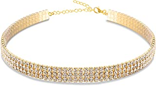 Mooinn Clear Crystal Choker Necklaces Rhinestone Crystal Cup Chain Necklace for Girls Women