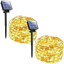 Outdoor Solar String Lights - 2 Pack 33FT 100 LED Solar Powered String Lights Waterproof Garden Fairy Lights Copper Wire Lights for Patio Yard Trees Christmas Table Wedding Party Decor (Warm White)