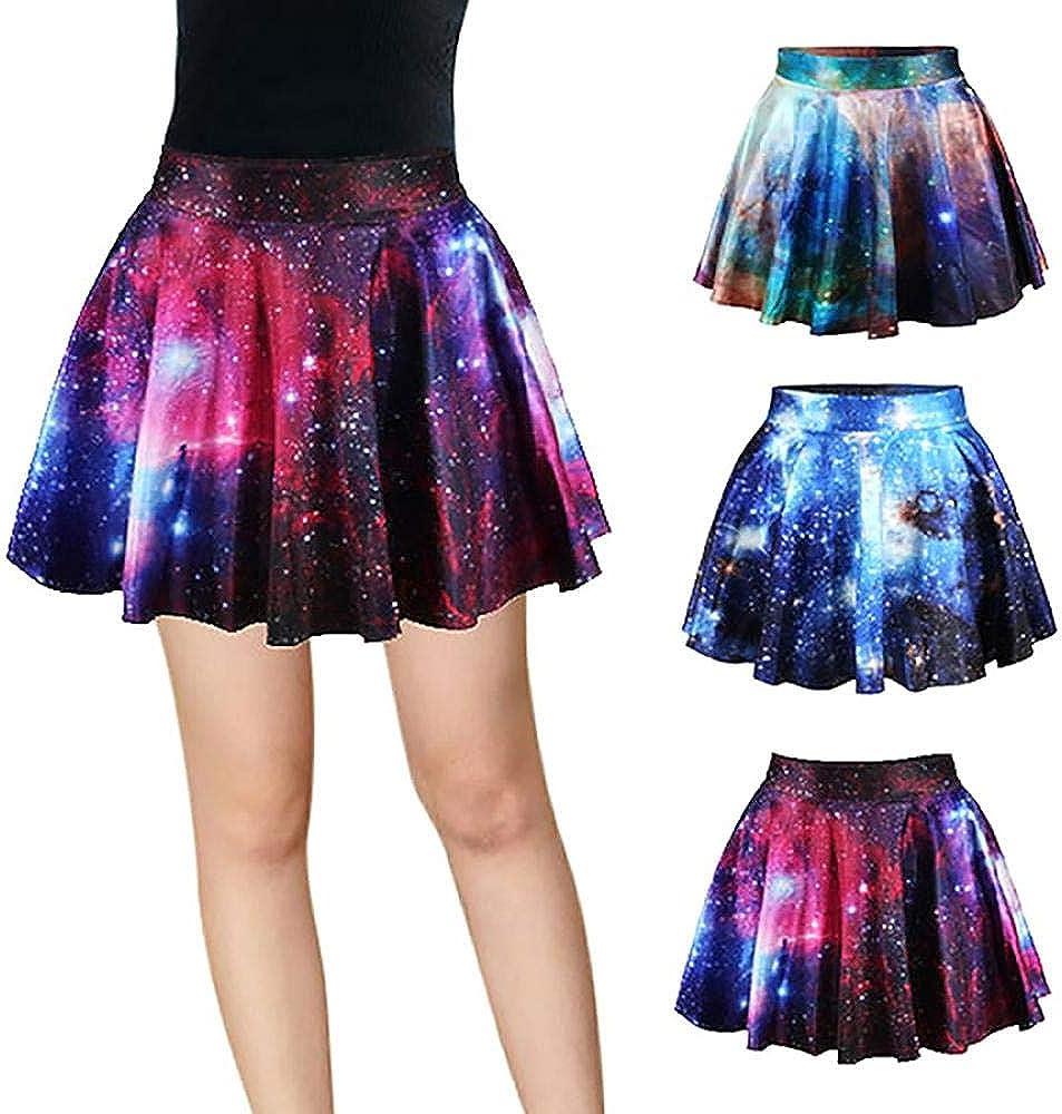 Comeon Women's High Waist Skirt Star Pattern Skater Skirt Elastic Casual Skirt