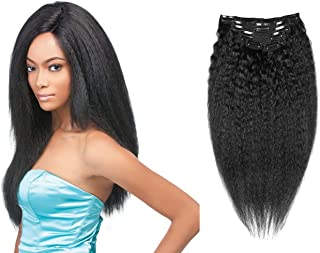 Clip in Kinky Straight Hair Extensions Yaki Straight Wave Hair Virgin Remy Human Hair Jet Black 10 Inch to 24 Inch 7 Pcs/Set (80g 12'', Jet Black)