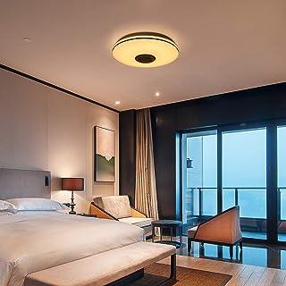 TTAototech Lámparas de techo LED con altavoz Bluetooth, control remoto APP + brillo ajustable + cambio de color 36W