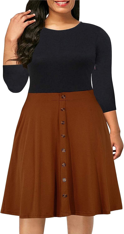 Nemidor Women's Casual 3/4 Sleeve Fit and Flare Dress Plus Size Button Down Vintage Swing Midi Dress NEM217