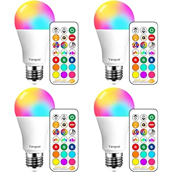 Yangcsl LED Light Bulbs 85W Equivalent 1200lm, RGB Color Changing Light Bulb, 6 Moods - Memory - Sync - Dimmable, A19 E26 Screw Base, Timing Remote Control Included (Pack of 4)
