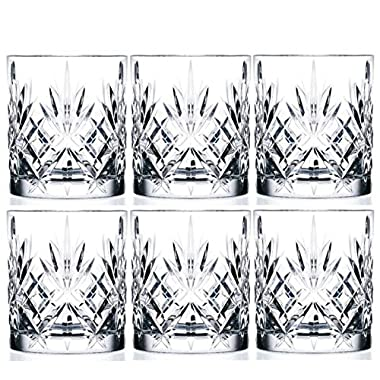 6-Piece Italian Crystal Whiskey Glass Set, 10 oz Crafted Double Old Fashioned Heavy Base Rocks Glasses for Scotch/Bourbon with Thundering Cut Design