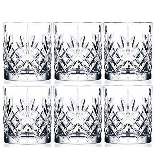 6-Piece Italian Crystal Whiskey Glass Set, 10 oz Crafted Double Old Fashioned Heavy Base Rocks Glasses for Scotch/ Bourbon with Thundering Cut Design