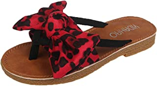 Voberry Summer Bow Leopard Print Beach Flip Flops Sandals Women Slippers Flat Sandals
