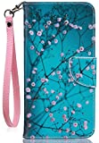 JanCalm for iPhone 8 Wallet Case,for iPhone 7 Case/iPhone SE 2020 Case,[Card/Cash Slots][Wrist Strap] PU Leather Cover Flip Cell Phone Cases for iPhone 7/8/SE 2020 +Crystal Pen (Plum Blossom Pattern)