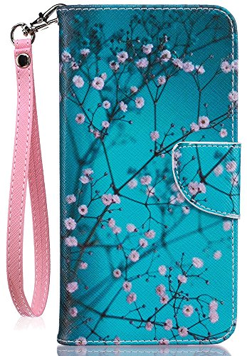 JanCalm for iPhone 8 Wallet Case, iPhone 7 Case, [Card/Cash Slots] [Wrist Strap] PU Leather Wallet Cover Flip Cell Phone Cases for iPhone 7 / iPhone 8 + Crystal Pen (Plum Blossom Pattern)
