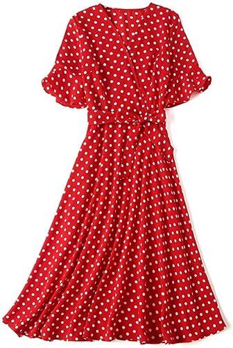 WLFCMJ Robe à Manches Courtes en Mousseline de Soie à col en V et à Manches Longues pour Femmes d'été de la Marque Summer M Code Rouge