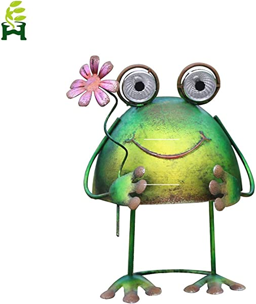 Solar Metal Art Outdoor Patio Decorative Animal Garden Decor LED Lawn Metal Decorative Frog Statue