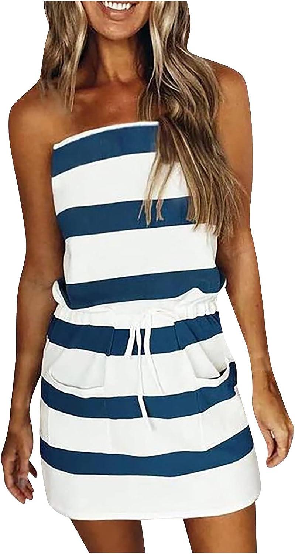TREED 2021 Summer Fashion Women Casual Sleeveless Bandage, Stripe Printing Loose Tube Top Dresses for Women