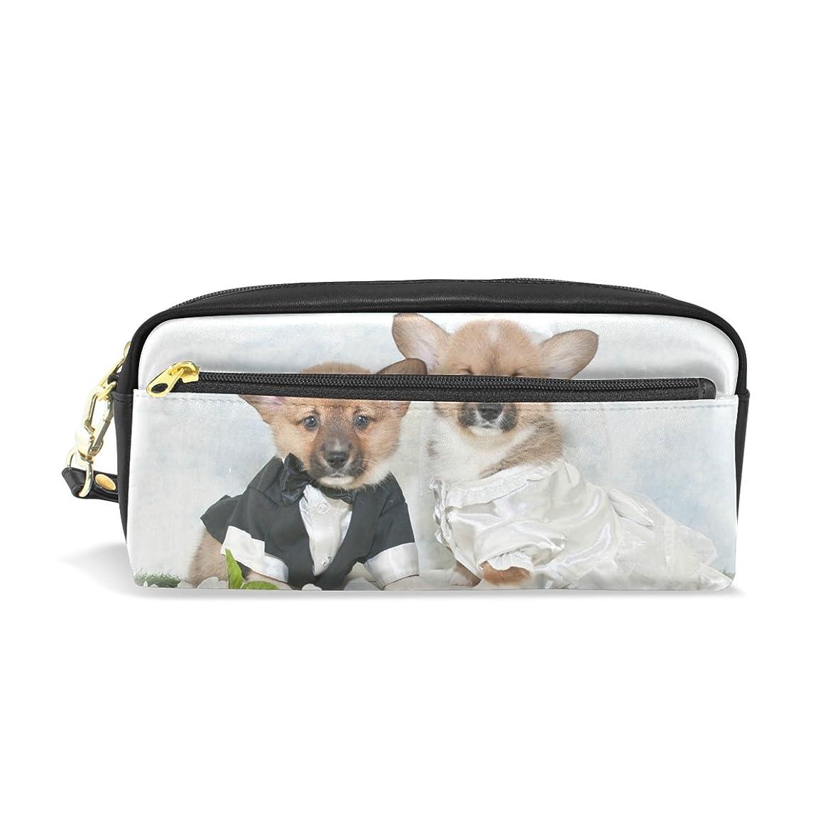 眠いですドーム電気的AOMOKI ペンケース ペンポーチ かわいい おしゃれ 化粧ポーチ 小物入り 多機能バッグ 男女兼用 プレゼント ギフト かわいい コギ かわいい犬