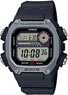Casio 10 Year Battery Quartz Watch with Resin Strap, Black, 27.2 (Model: DW-291H-1AVCF)