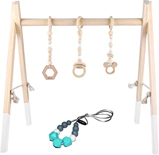 GOZYE Baby Play Activity Gym Frame with Wooden Baby Teething Mobiles & Silicone Teething Necklace for Newborn Gift(White)