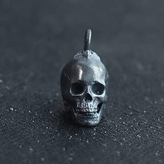 Glintbay Creative Handmade Sterling Silver Skull Bead Pentagram Punk Rocker Pendant (Antique-S)